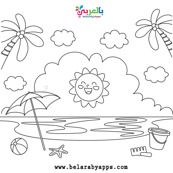 Beach Coloring Pages For Preschool - Coloring Home | 600x600