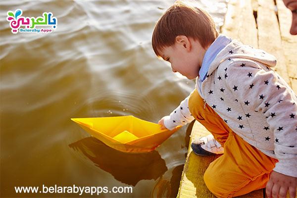 صنع قوارب ورقية للاطفال -ألعاب صغيرة مائية