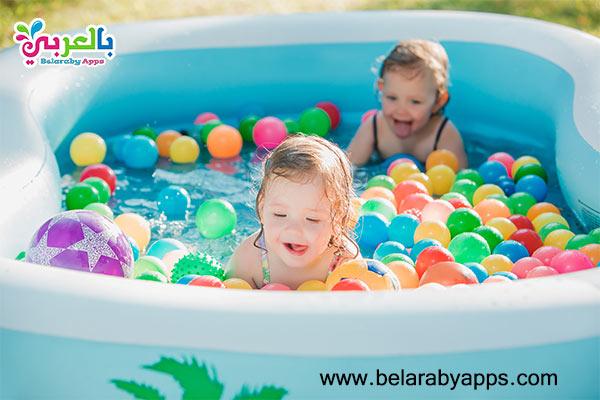ألعاب في المسبح - لعبة الكور الملونة بالمسبح للاطفال