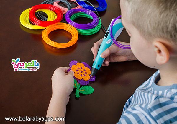 قلم ثلاثي الابعاد مع خيوط ملونة - 3d pen