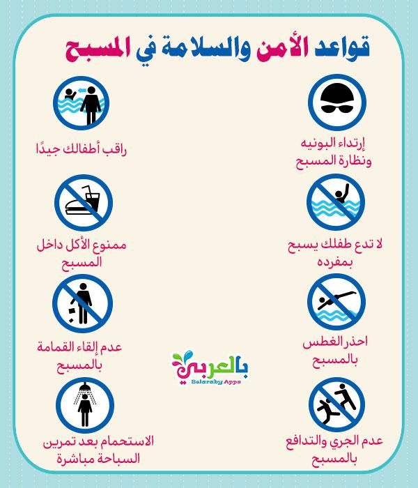 انفوجرافيك قواعد الأمن والسلامة في المسبح لاطفالك