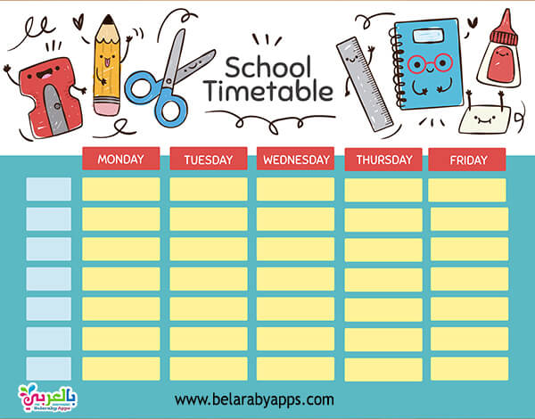 Cute timetable template 2021