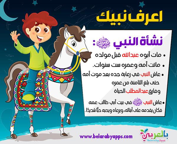 نشأة النبي صلى الله عليه وسلم - بطاقات اعرف نبيك للاطفال