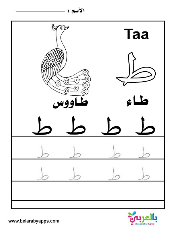 تعليم كتابة الحروف العربية بالنقاط