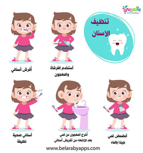 خطوات تنظيف الاسنان بالصور