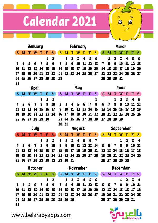 تقويم ميلادي 2021 pdf - تقويم العام الجديد للطباعة