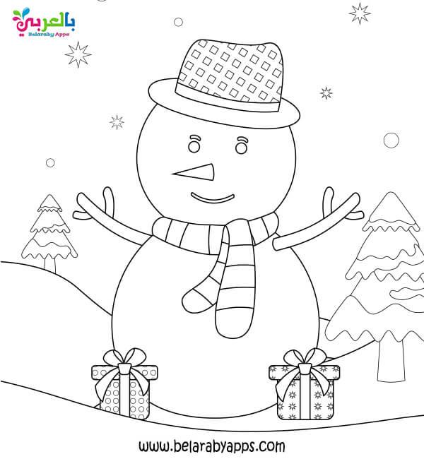 رجل الثلج تلوين .. اوراق عمل فصل الشتاء للتلوين