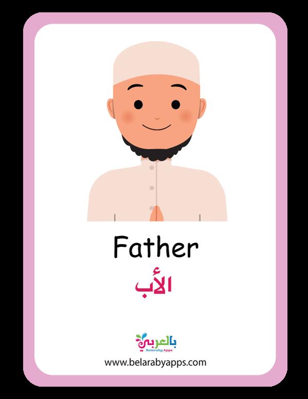 بطاقة مفردات افراد العائلة للاطفال .. الأب