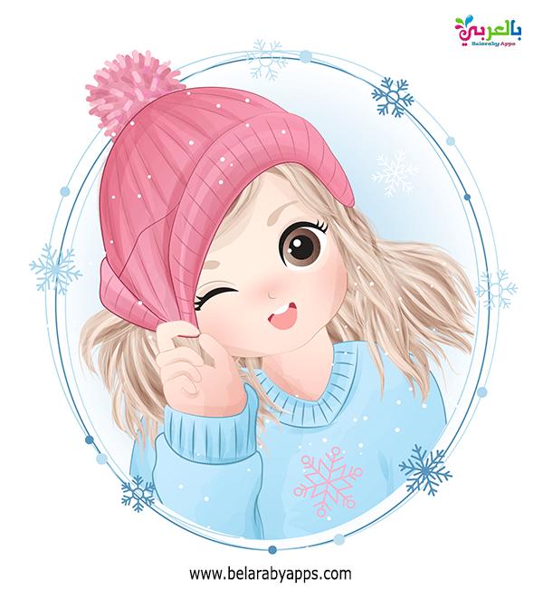خلفيات شتاء بنات - رسومات اطفال عن فصل الشتاء