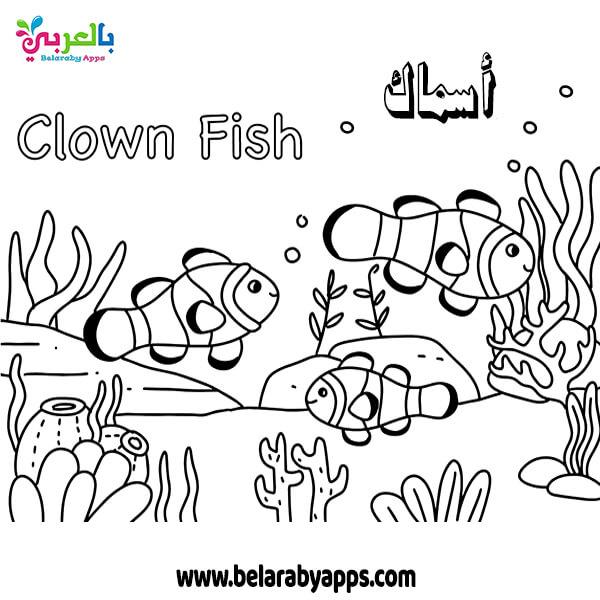رسومات اطفال الكائنات البحرية للتلوين
