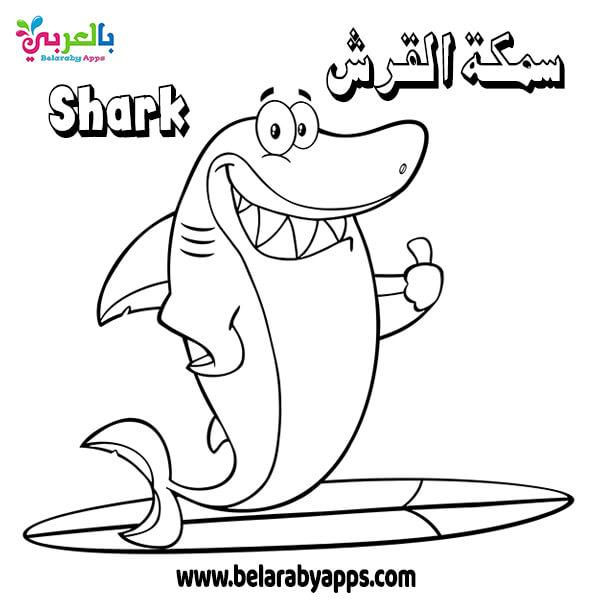 بطاقات تعليم الأطفال أسماء الأسماك باللغة العربية والإنجليزية