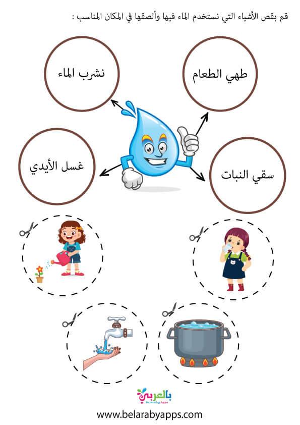 استخدامات الماء في المنزل اوراق عمل