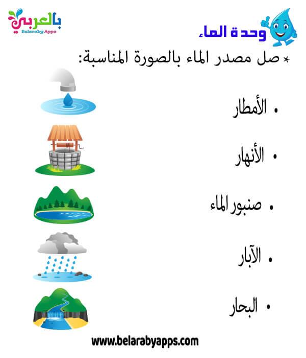 اوراق عمل مصادر المياه للاطفال - انشطة وحدة الماء