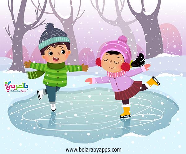 رسم عن الشتاء للاطفال
