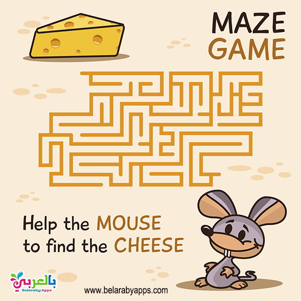 Maze Cartoon Animals and their Favorite Food