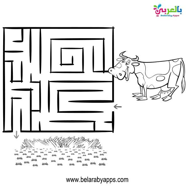 ورقة عمل متاهة لوحدة الحيوانات للاطفال