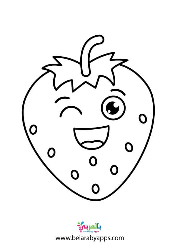ورق عمل تلوين فواكه لرياض الاطفال .. فراولة