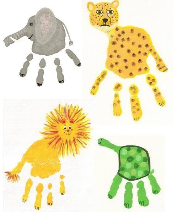 افكار رسم حيوانات بكف اليد