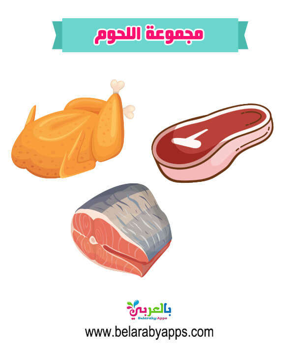 صور مجموعة اللحوم .. مجموعات الغذاء لرياض الأطفال