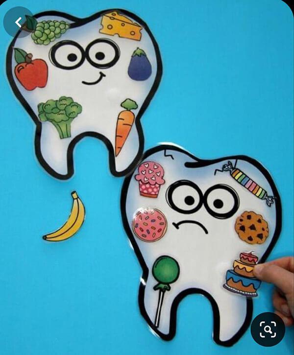 اعمال يديوية عن الغذاء الصحى والغير صحي للاسنان
