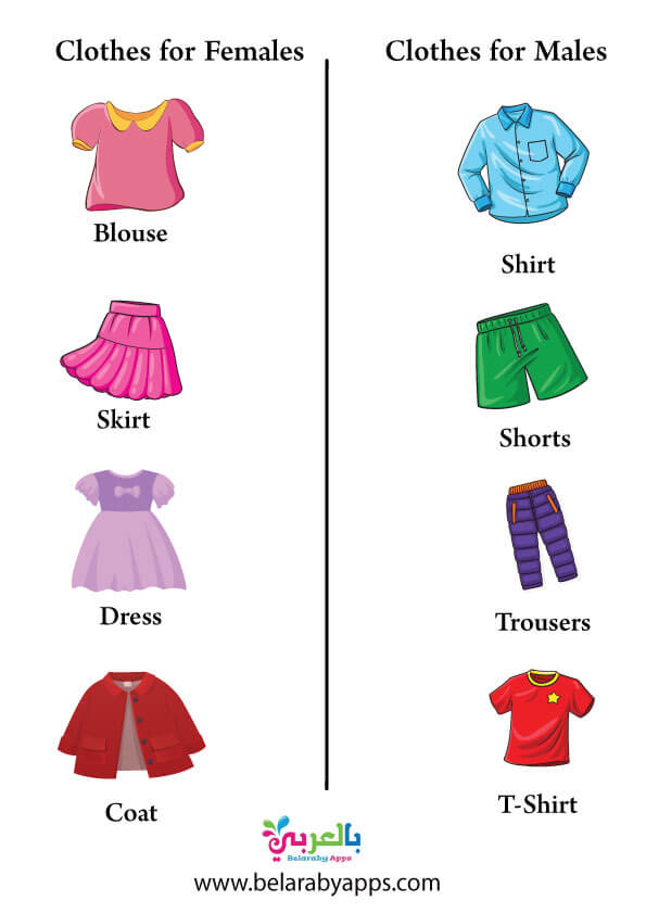 تعليم اسماء ملابس النساء والذكور بالانجليزية بالصور للاطفال