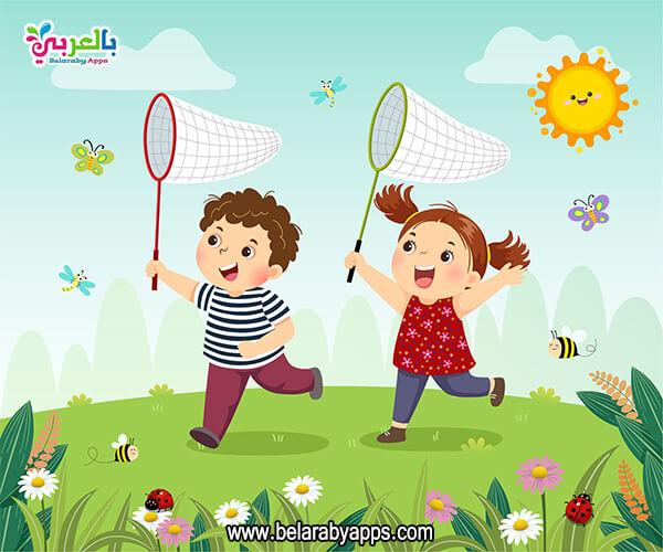 رسومات كرتونية ملونة عن الربيع للاطفال