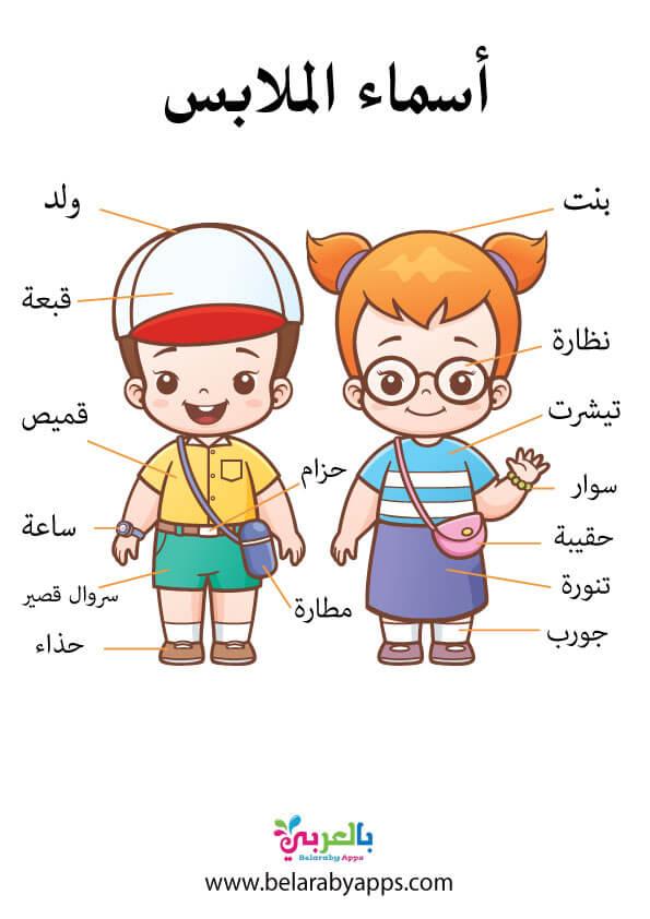 وسيلة تعليمية عن اسماء الملابس بالصور للاطفال