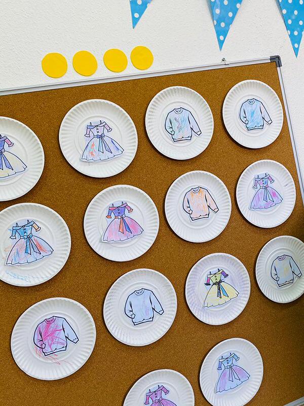 نشاط رسسم وتلوين الملابس لرياض الاطفال