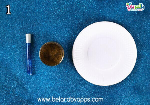 ramadan activities for toddlers - ramadan paper plate moon and star decoration - افكار زينة رمضان للاطفال
