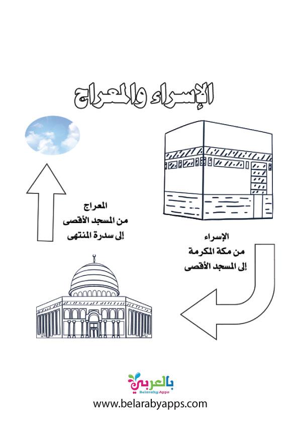 رسم عن رحلة الاسراء والمعراج للتلوين