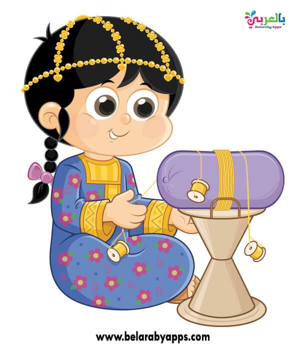 رسومات كرتون الزي التقليدي السعودي للاناث