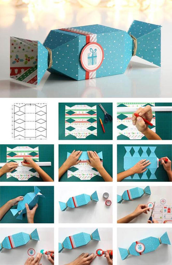 توزيعات العيد بالورق - صنع علبة شكل حلوى بالورق