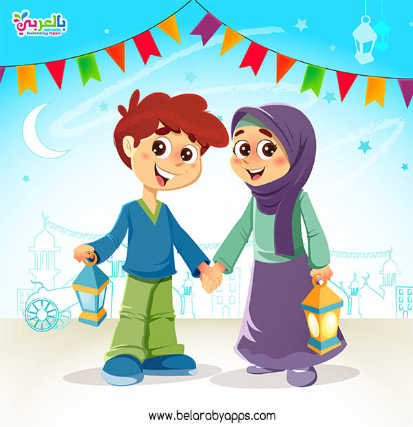 صور رمضان كرتون 2021 -بطاقة تهنئة رمضان