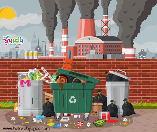 رسومات عن التلوث البيئى .. عوادم المصانع