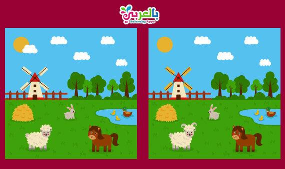 لعبة اكتشاف الفرق بين الصورتين للاطفال PDF .. أوجد الإختلافات الخمسة
