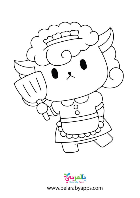 رسم خروف العيد للتلوين للاطفال - free printable sheep template