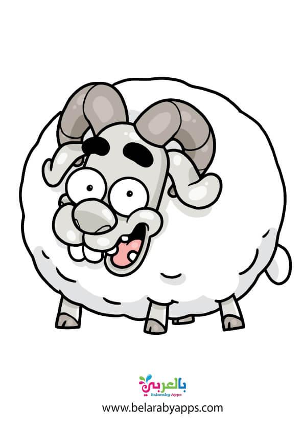 خروف العيد كرتون للاطفال للطباعة .. استيكر - free printable sheep template