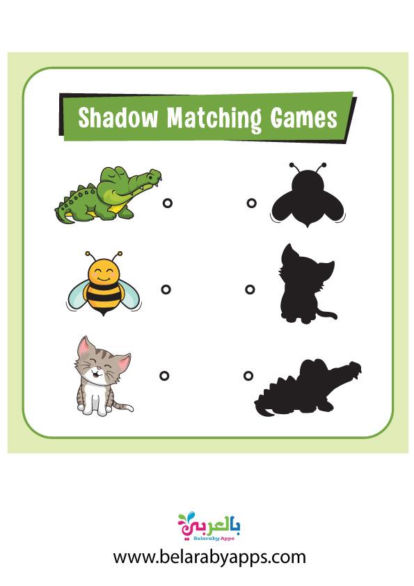 لعبة تطابق الصورة والظل للحيوانات
