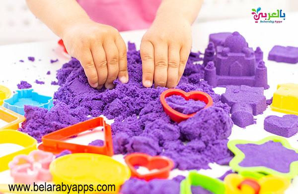 نشاط الرسم بالرمل الملون للاطفال