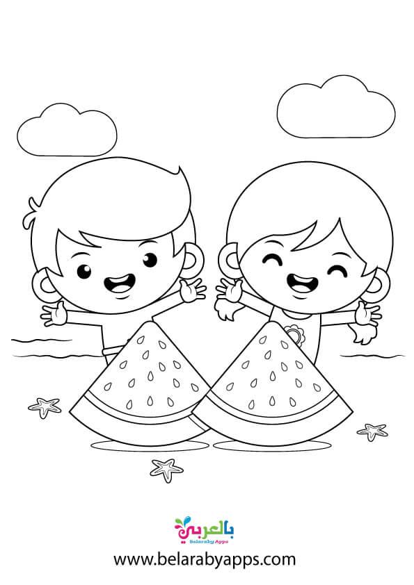 رسم وتلوين شاطئ البحر للاطفال
