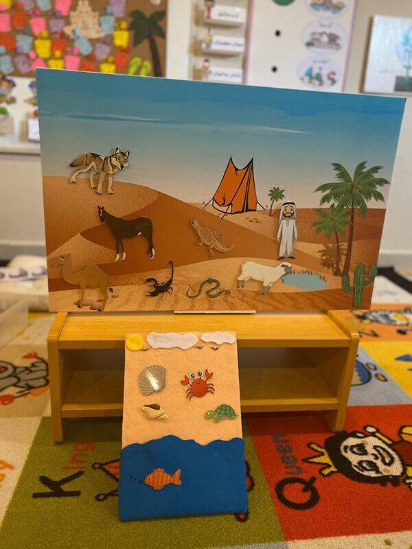 عمل فني حيوانات تعيش في الرمل وحيوانات تعيش في الماء